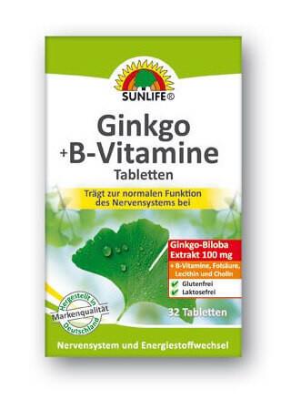 Sunlife Ginkgo + B-vitamin tabletták 32db
